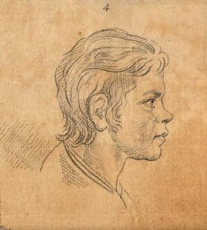 view A youth whose physiognomy attests to unrefinability and obstinate weakness. Drawing, c. 1789, after D.N. Chodowiecki.