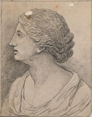 view A woman in a state of attention without interest. Drawing, c. 1789.