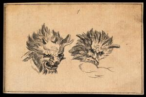 view Two demonic physiognomies, expressive of malignity. Drawing, c. 1789.