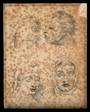 view Four faces of the damned in Dante's Hell. Drawing, c. 1791.