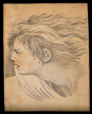 view Head of an angel. Drawing, c. 1791, after Raphael.