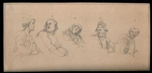 view Five biblical and mythological figures, expressing different physiognomic characteristics. Drawing, c. 1791, after Raphael.