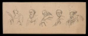 view Five biblical figures, showing special physiognomic characteristics. Drawing, c. 1791, after Raphael.