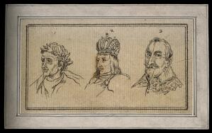 view Three physiognomies belonging to a Roman consul, a king and a prince. Drawing, c. 1792.