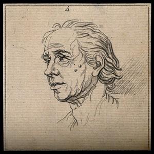 view Profile of a man displaying a phlegmatic-melancholic temperament. Drawing, c. 1792.