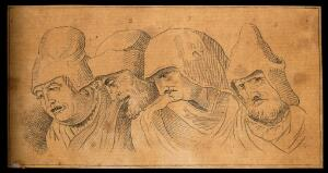 view Four physiognomies expressing evil characters. Drawing, c. 1792.