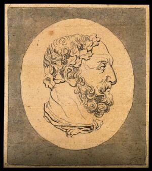 view A bust of Hercules: profile. Drawing, c. 1792.