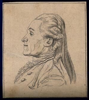 view Head of a man endowed, according to Lavater, with the capacity for profound thought. Drawing, c. 1792.