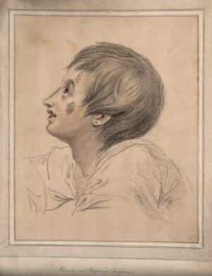 view Head of a boy representing a boy listening to Jesus Christ speak. Drawing, c. 1793, after B. West.
