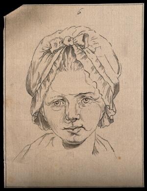 view A young woman wearing a bonnet, representing characteristics of youth. Drawing, ca. 1794.