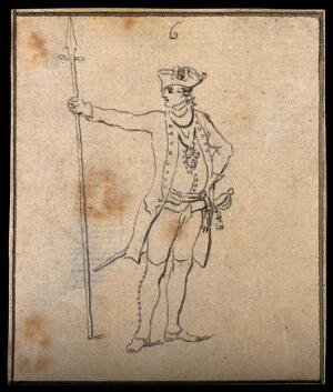 view A soldier in the Prussian army. Drawing, c. 1794.
