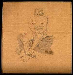 view A man in a state of grief. Drawing, c. 1794.