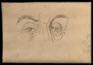 view Two eyes, expressing a character of genius, according to Lavater. Drawing, c. 1794.