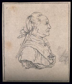 view A valiant and resolute man (as described by Lavater): profile. Drawing, c. 1793.
