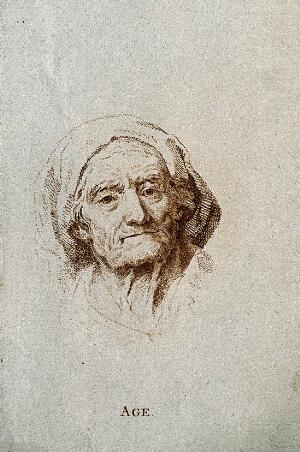 view Head of an old woman. Stipple engraving.