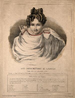 view A woman covers her nudity; but in vain, because her facial features, marked with numbered dots, allow us to interpret the hidden contours and shapes of her body (according a method attributed to Lavater). Coloured lithograph.
