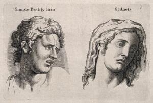 view A face expressing 'simple bodily pain' (left) and a face (right) expressing sadness. Engraving, c. 1760, after C. Le Brun.