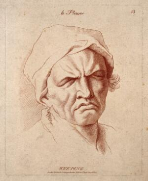 view A man weeping. Etching in the crayon manner by W. Hebert, c. 1770, after C. Le Brun.