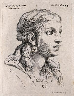 view A female face expressing admiration tinged with astonishment. Engraving by M. Engelbrecht, 1732, after C. Le Brun.