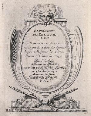 view A monument supported by crossed porte-crayons and surmounted by the head of an angel: frontispiece to the depictions of the passions. Engraving by M. Engelbrecht (?), 1732, after C. Le Brun.