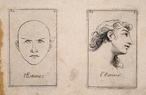 view Two faces (one outlined, the other of a long-haired youth) expressing esteem. Etching by B. Picart, 1713, after C. Le Brun.