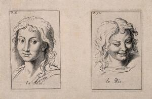 view Two faces showing joy and laughter. Etching by B. Picart, 1713, after C. Le Brun.