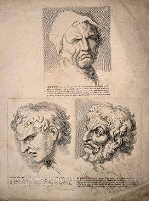 view Three faces: weeping (top), expressing compassion (bottom left), and scorn (bottom right). Engravings after C. Le Brun.