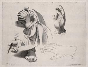 view Hands in various gestures, including prayer and benediction. Engraving after C. Le Brun.