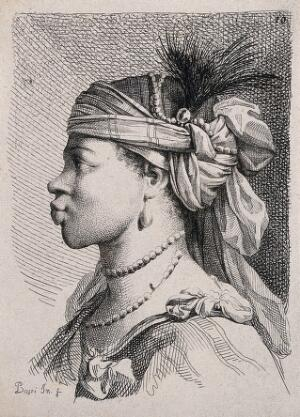 view A woman (possibly intended to be African) with pouting lips in elaborate head gear. Engraving by B. Bossi, 1776 (?), after himself.