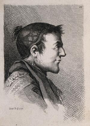 view A man in profile; a physiognomic caricature. Engraving by B. Bossi, 1775, after himself.
