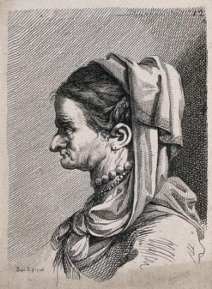view An old woman with a crumpled face, wearing elaborate costume; a physiognomic caricature. Engraving by B. Bossi, 1776, after himself.