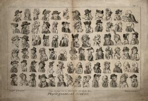 view Eighty-four physiognomic caricatures of English eighteenth century types. Etching by I. Cruikshank after G.M. Woodward.