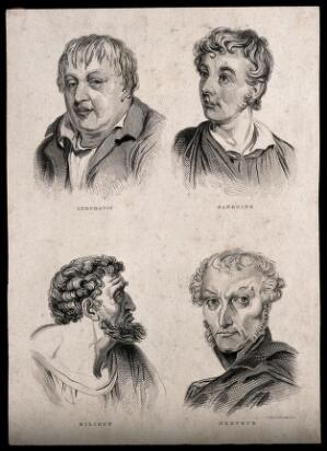 view Four heads of men who each exhibit one of the four temperaments: (clockwise from top left) lymphatic, sanguine, bilious, and nervous. Engraving by W. Johnson and A.K. Johnson, early 19th century.