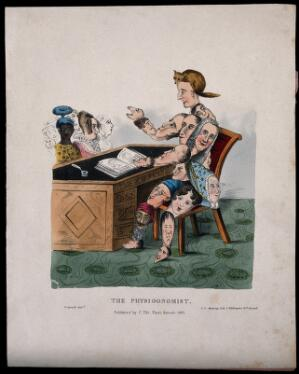 view A physiognomist whose body is entirely made up of faces, sitting at a table diagnosing people's physiognomic characteristics with the help of a book. Coloured lithograph by G.E. Madeley after G. Spratt, 1831.
