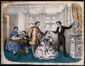 view A phrenologist and some society people in a parlour. Coloured lithograph by H. Jannin after L.C. Bommier (?).