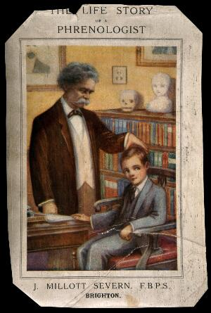 view Joseph Millot Severn, a British phrenologist, examining a boy. Colour process print, c. 1929.