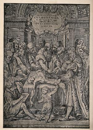 view An anatomical dissection by Realdus Colombus, attended by onlookers. Collotype after a woodcut, 1559.