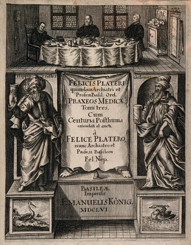 The anatomist Felix Platter, seated at a table covered with surgical instruments in a room with two other men, below which are the figures of Hippocrates and Galen. Engraving, 1656.