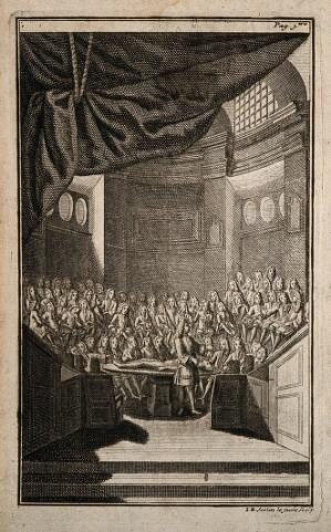 view Pierre Dionis lecturing on surgery at the Saint-Côme lecture theatre in Paris. Engraving by Jean-Baptiste Scotin the younger, 1707.