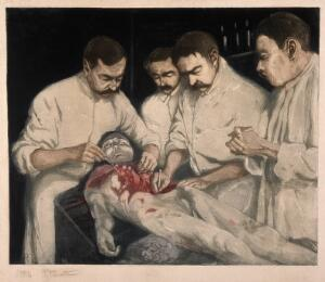 view An anatomical dissection of the abdomen of a cadaver, seen in a foreshortened view. Aquatint by R. Perrette, 1904.