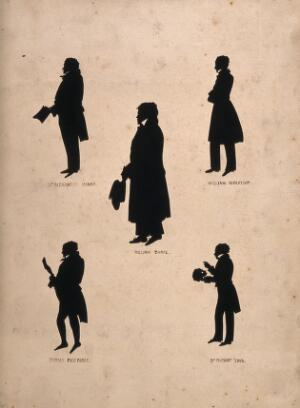 view William Burke (centre), Dr Alexander Monro III (top left), William Robertson (top right), Thomas Beveridge (lower left), Dr Robert Knox (lower right) Silhouettes, c. 1830.