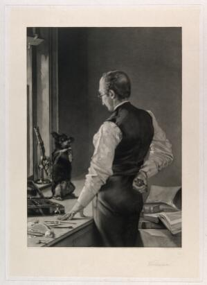 view A dog on a laboratory bench sits up and begs the prospective vivisector for mercy. Engraving by D. J. Tomkins, 1883, after a painting by J. McClure Hamilton.