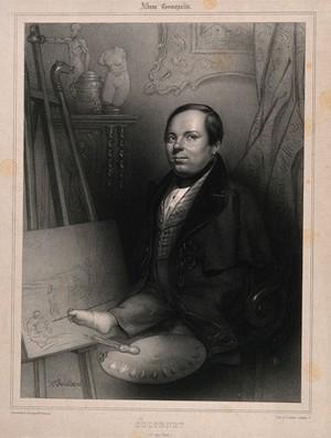 view Louis-César-Joseph Ducornet, an artist born without arms. Lithograph by H. Robillard.