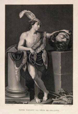 view David with the head of Goliath. Line engraving by F. Beisson after J.B. Debret after G. Reni.
