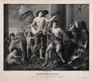 view David with the head of Goliath, accompanied by an angel and cherubs. Lithograph by G. Sensi after N. Poussin.