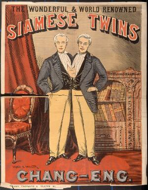 view Chang and Eng, the Siamese twins, in evening dress. Colour wood engraving by H.S. Miller.