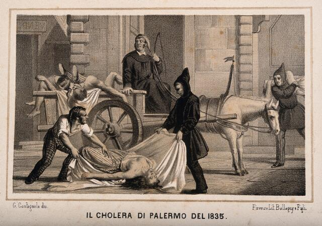 Disposal of dead bodies during the cholera epidemic of 1835 in Palermo. Lithograph by G. Castagnola.