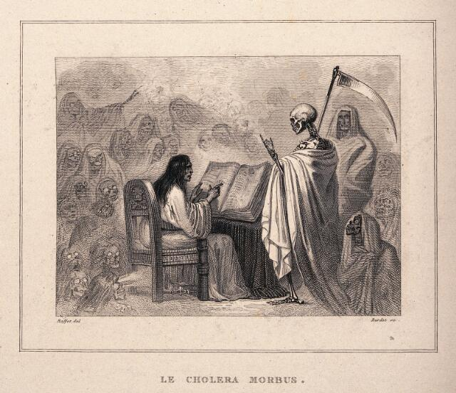 An allegory of cholera mortality. Etching by A. Burdet after A. Raffet.