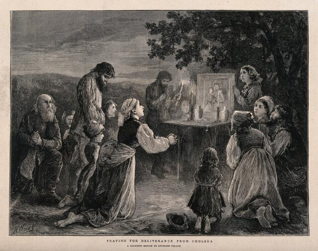 Men, women, and children praying at a shrine by the roadside during the 1873 cholera epidemic in Poland. Wood engraving by H. Woods, 1873.