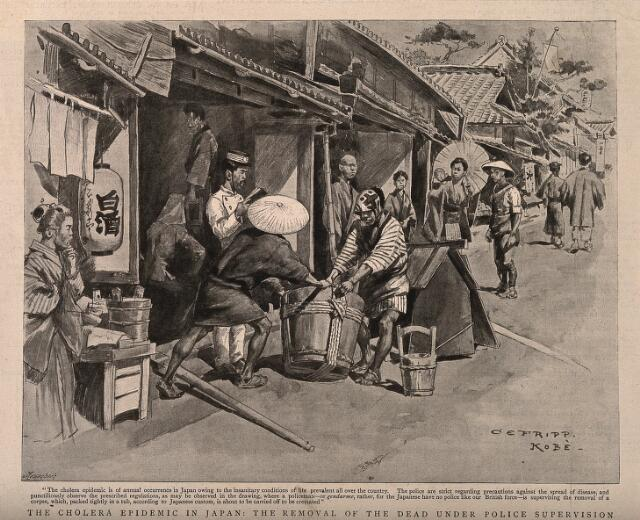 Disposal of the dead, under police supervision during a cholera epidemic in Japan. Reproduction of drawing by Meisenbach after C. Fripp.